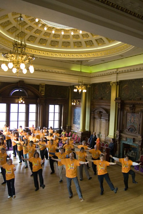 Fifty members performed a set in the impressive grandeur of the Council Chambers room.